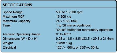 Spectrafuge 24D Specifications